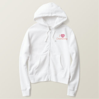 I Love Crocheting Embroidered Hoodie