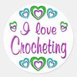 I Love Crocheting Round Sticker