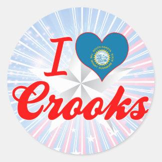 I Love Crooks, South Dakota Stickers