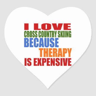 I Love Cross Country Skiing Because Therapy Is Exp Heart Sticker