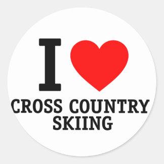 I Love Cross Country Skiing Round Sticker
