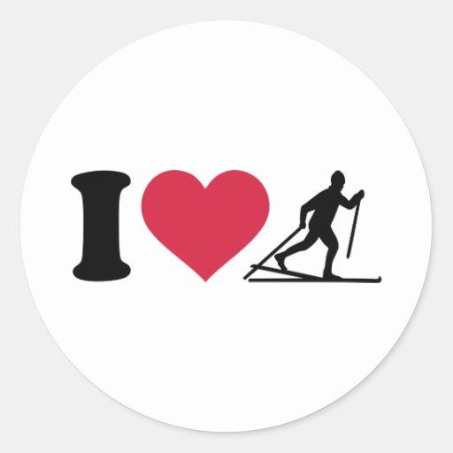 I love Cross-country skiing Round Sticker