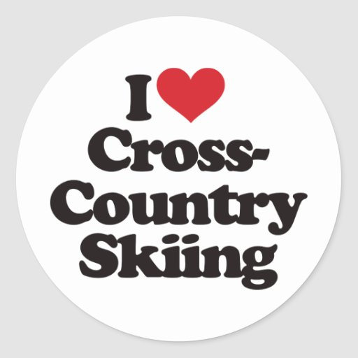 I Love Cross Country Skiing Round Stickers