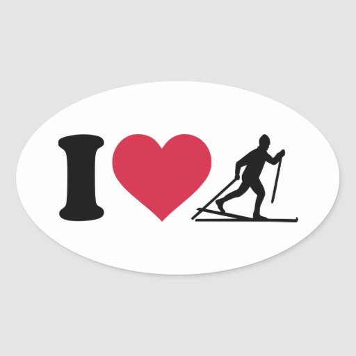 I love Cross-country skiing Oval Stickers