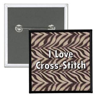 I Love Cross-Stitch 15 Cm Square Badge
