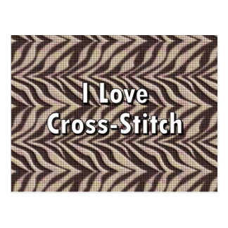 I Love Cross-Stitch Postcard