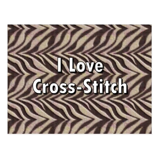 I Love Cross-Stitch Post Card