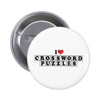 I Love Crossword Puzzles 6 Cm Round Badge
