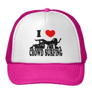 I Love Crowd Surfing (female) (blk) Cap