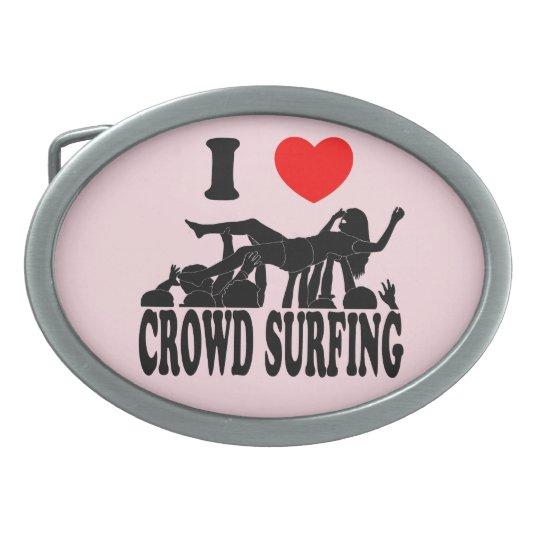 I Love Crowd Surfing (female) (blk) Oval Belt