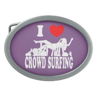 I Love Crowd Surfing (female) (wht) Belt Buckles