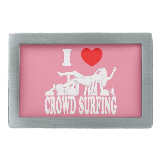 I Love Crowd Surfing (female) (wht) Rectangular Belt