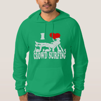 I Love Crowd Surfing (male) (wht) Hoodie