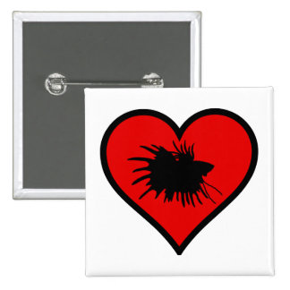 I Love Crown Tail Betta Fish Silhouette red Heart 15 Cm Square Badge