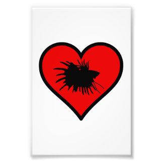 I Love Crown Tail Betta Fish Silhouette red Heart Photo Art