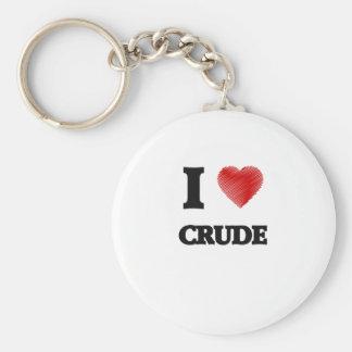 I love Crude Basic Round Button Key Ring