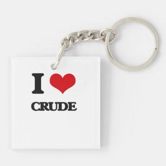 I love Crude Double-Sided Square Acrylic Key Ring
