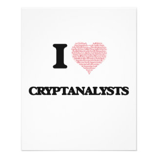 I love Cryptanalysts (Heart made from words) 11.5 Cm X 14 Cm Flyer