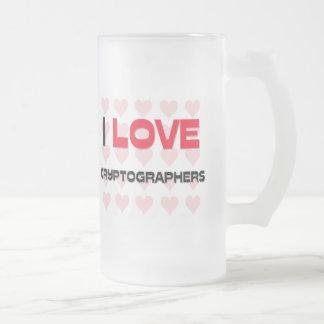 I LOVE CRYPTOGRAPHERS FROSTED GLASS MUG