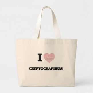 I love Cryptographers (Heart made from words) Jumbo Tote Bag
