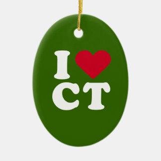 I LOVE CT CHRISTMAS ORNAMENT
