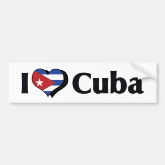 I Love Cuba Flag Bumper Sticker