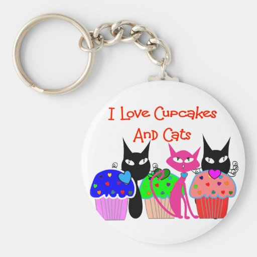 """I love cupcakes and cats""--Cupcake Lovers Gifts Basic Round Button Key Ring"