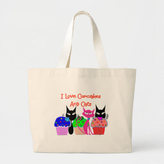 """I love cupcakes and cats""--Cupcake Lovers Gifts Large Tote Bag"
