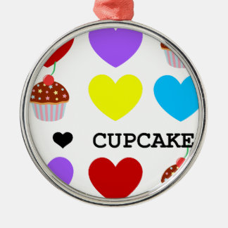 i love cupcakes bright design cupcake Silver-Colored round decoration