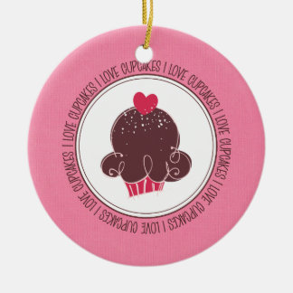 I Love Cupcakes Ceramic Christmas Ornaments
