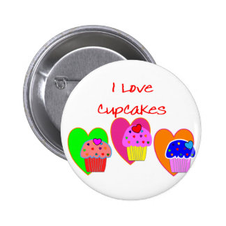 """I Love Cupcakes""--Cupcake lovers gifts 6 Cm Round Badge"