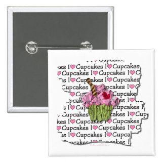 I Love Cupcakes  Gifts Apparel Collectibles 15 Cm Square Badge