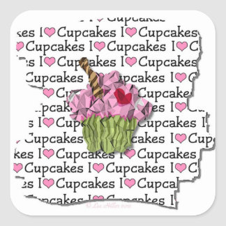 I Love Cupcakes Gifts Apparel Collectibles Square Sticker