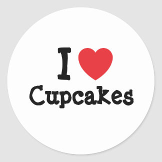 I love Cupcakes heart T-Shirt Round Stickers