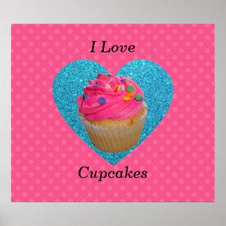 I love cupcakes pink polka dots poster