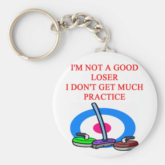 i love curling basic round button key ring