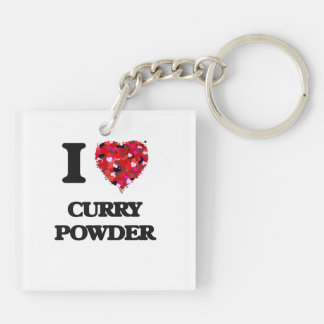 I love Curry Powder Double-Sided Square Acrylic Key Ring