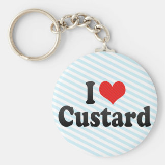 I Love Custard Basic Round Button Key Ring