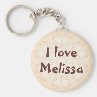 """""""I love"""" - Customize with your name Basic Round Button Key Ring"""