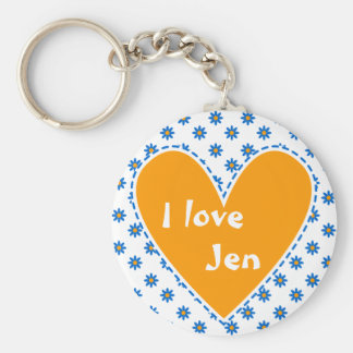 """I love"" - Customize with your name Basic Round Button Key Ring"