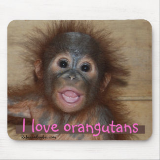 I Love Cutest Animals Orangutan Mouse Mat