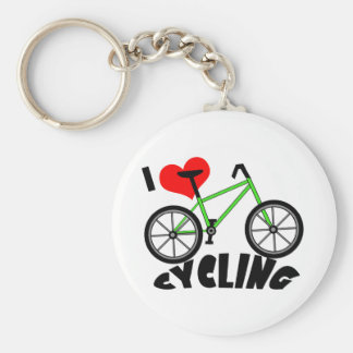 I Love Cycling Basic Round Button Key Ring
