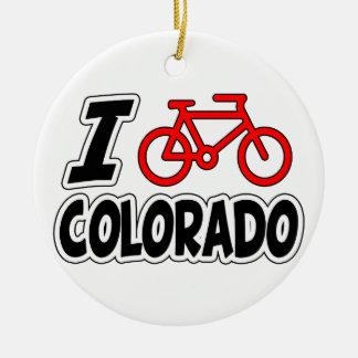 I Love Cycling Colorado Christmas Ornament
