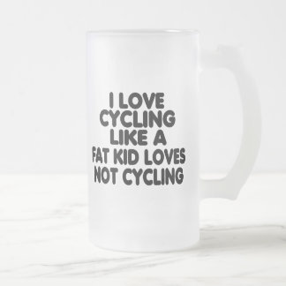 I Love Cycling Frosted Glass Beer Mug