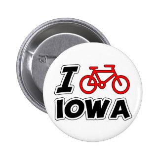 I Love Cycling Iowa 6 Cm Round Badge