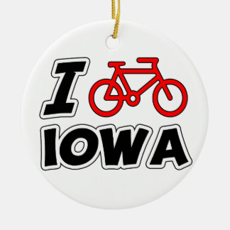I Love Cycling Iowa Christmas Ornament