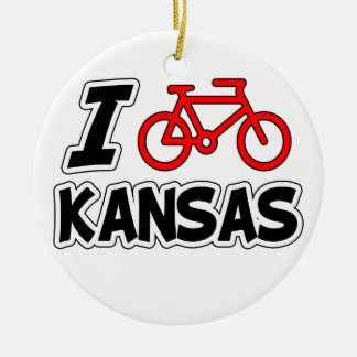 I Love Cycling Kansas Christmas Ornament