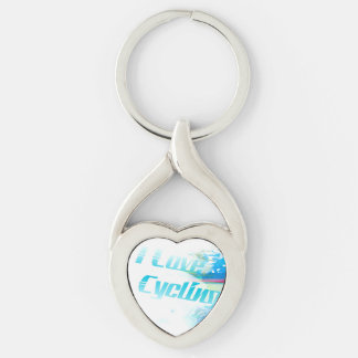 i love cycling Key Ring Silver-Colored Twisted Heart Key Ring