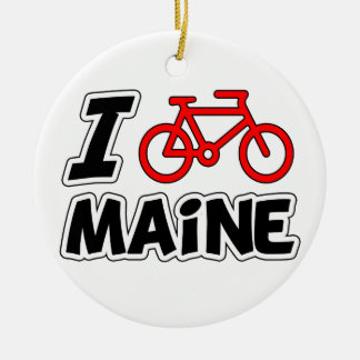 I Love Cycling Maine Round Ceramic Decoration