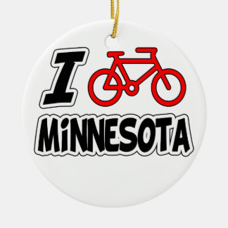 I Love Cycling Minnesota Christmas Ornament
